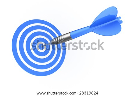 3d rendering of a dart hitting the target
