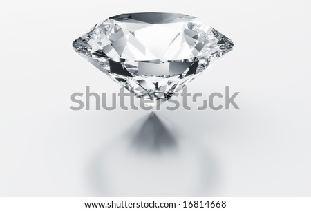 3d rendering of a diamond on a white reflective floor - stock photo