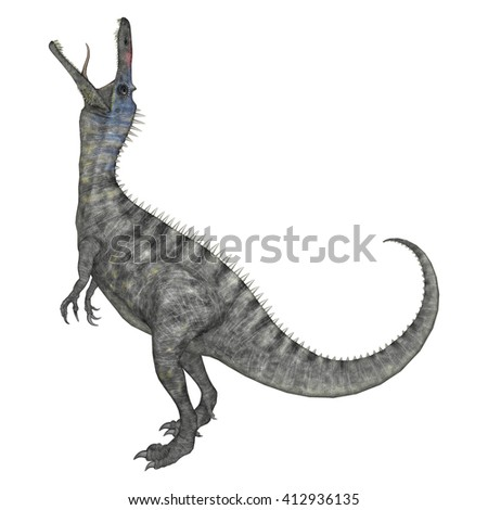 3D rendering of a dinosaur Suchomimus isolated on white background