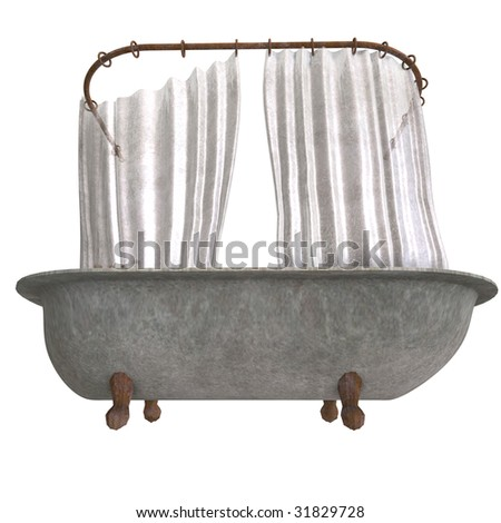 3d rendering of a dirty and dangerous bathtube with shower curtain with Clipping Path and shadow over white