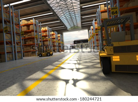 3D rendering of a distribution warehouse - stock photo