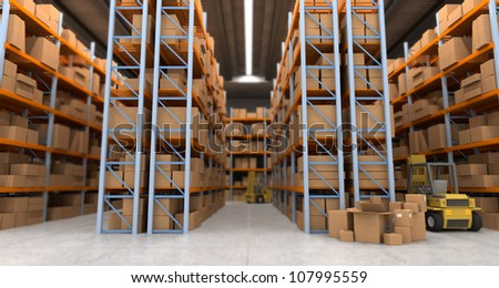 3D rendering of a distribution warehouse with shelves, racks, boxes, forklift,  ideal for backgrounds - stock photo
