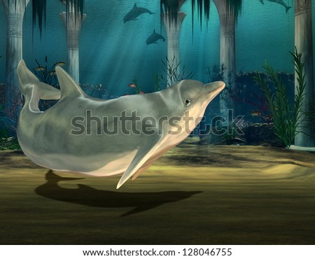 3D rendering of a dolphin in an underwater ruins - stock photo