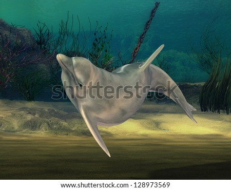 3D rendering of a dolphin under water - stock photo