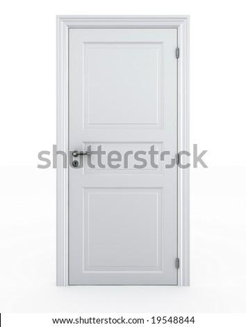 3d rendering of a door standing free on a white floor - stock photo