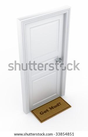 """3d rendering of a door with a """"got mud?"""" doormat - stock photo"""