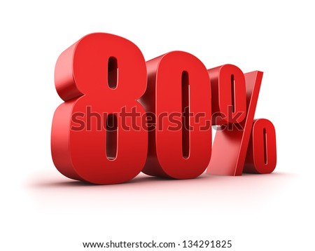 3D Rendering of a eighty percent symbol - stock photo