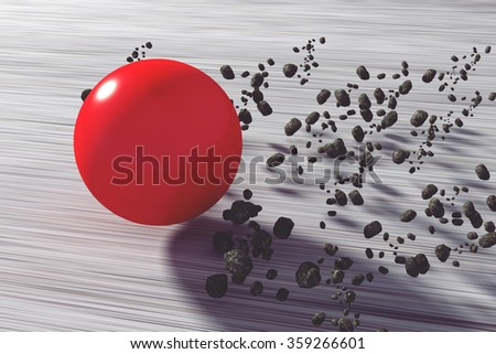 3D rendering of a fast flying red ball - stock photo