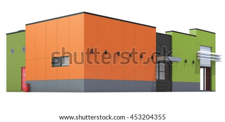 3d Rendering of a Fast food restaurant on white background. Isolated