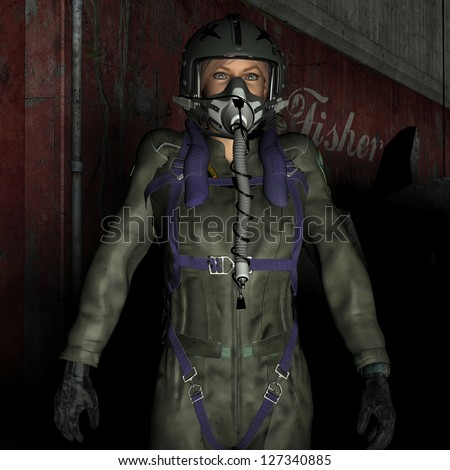 3D rendering of a female pilot with protective mask
