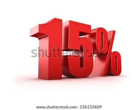 3D Rendering of a fifteen percent symbol - stock photo