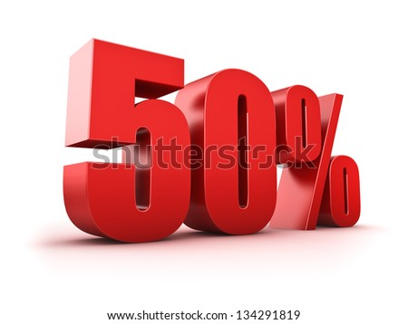 3D Rendering of a fifty percent symbol - stock photo