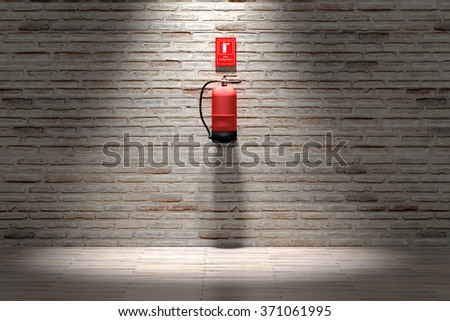 3d rendering of a fire extinguisher hanging on brick wall. - stock photo