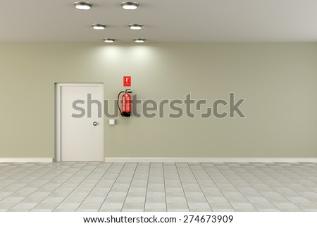 3d rendering of a fire extinguisher on an empty room - stock photo