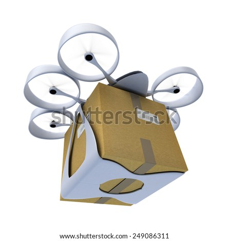 3D rendering of a flying drone carrying a box against a white background - stock photo