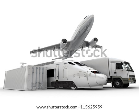3D rendering of a flying plane, a truck, a lorry, a train and a cargo container - stock photo