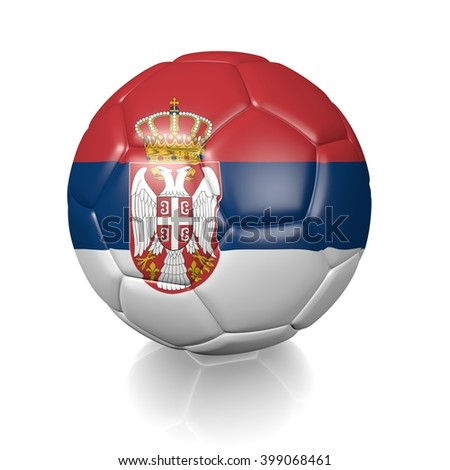 3D rendering of a football soccer ball colored with the flag of Serbia isolated on a white background