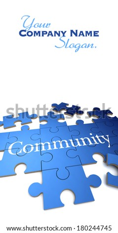 3D rendering of a forming puzzle with the word Community  - stock photo