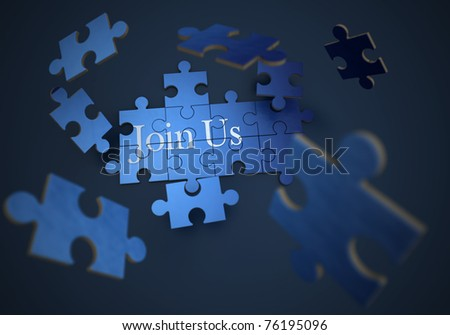 3D rendering of a forming puzzle with the words join us - stock photo