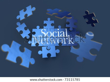 3D rendering of a forming puzzle with the words social network - stock photo