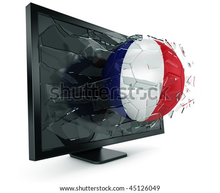 3d rendering of a French soccerball breaking through monitor - stock photo