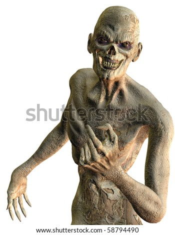 3D rendering of a friendly rotten zombies with skin - stock photo