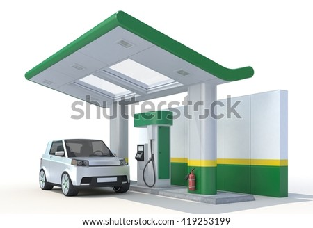 3D Rendering of a Fuel Cell Vehicle in Charging Station on white background. - stock photo