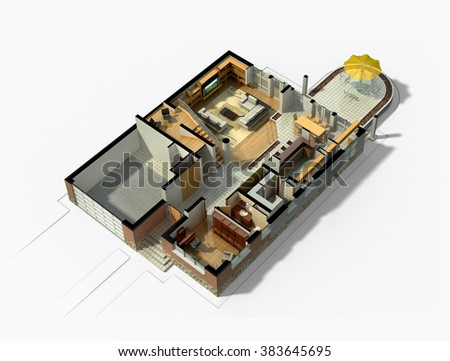 3D rendering of a furnished residential house, with the first floor plan, showing the living room, dining room, foyer, terrace and garage. - stock photo