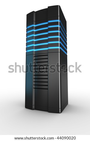 3d rendering of a futuristic server on a white background - stock photo