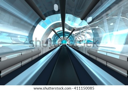 3D rendering of a futuristic subway or train station. 3D architecture visualization.