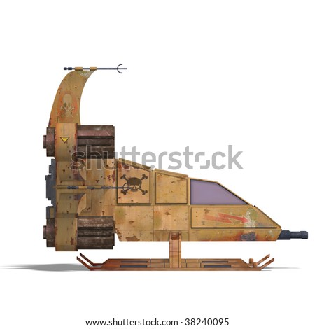 3D rendering of a futuristic transforming scifi robot and spaceship with clipping path and shadow over white - stock photo