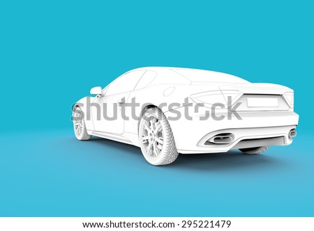 3d rendering of a generic white toon car