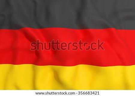 3d rendering of a german flag waving - stock photo