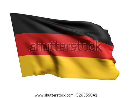 3d rendering of a german flag waving on white background