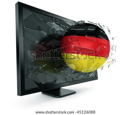 3d rendering of a German soccerball breaking through monitor - stock photo
