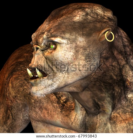 3d rendering  of a giant monster in the portrait  as an illustration - stock photo