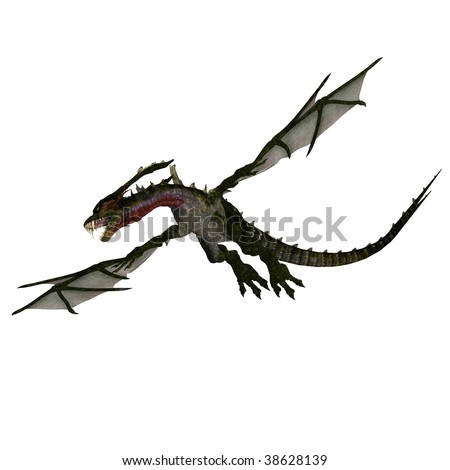 3D rendering of a giant terrifying dragon with wings and horns attacks with clipping path and shadow over white - stock photo