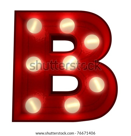 3D rendering of a glowing letter B ideal for show business signs - stock photo