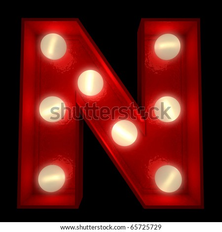 3D rendering of a glowing letter N ideal for show business signs