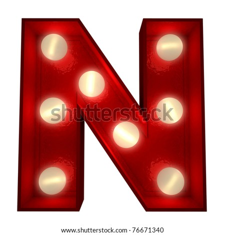 3D rendering of a glowing letter N ideal for show business signs - stock photo