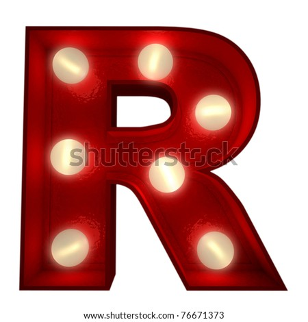 3D rendering of a glowing letter R ideal for show business signs - stock photo