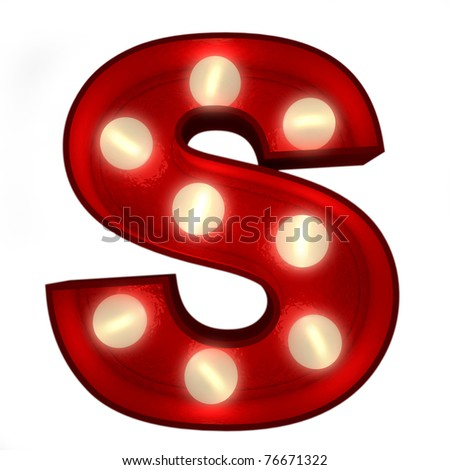3D rendering of a glowing letter S ideal for show business signs - stock photo