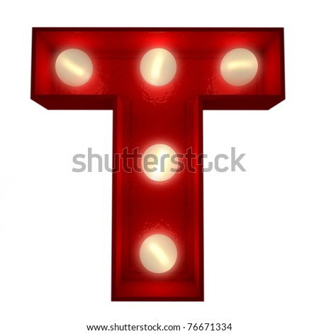 3D rendering of a glowing letter T ideal for show business signs - stock photo