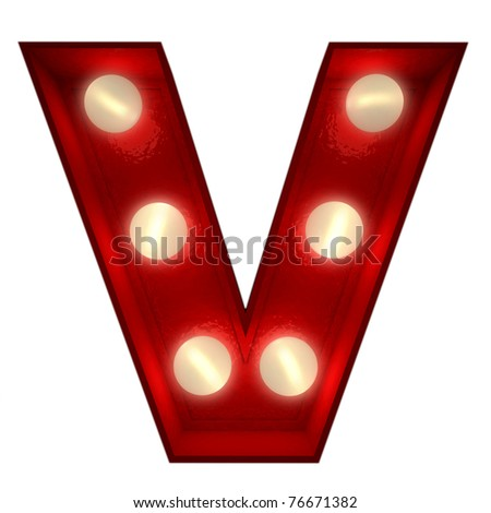 3D rendering of a glowing letter V ideal for show business signs - stock photo