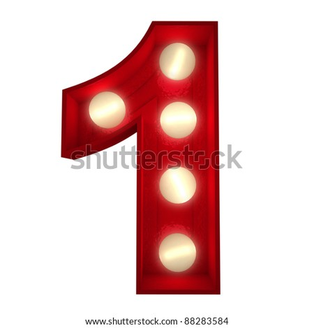 3D rendering of a glowing number 1 ideal for show business signs (part of a complete alphabet) - stock photo