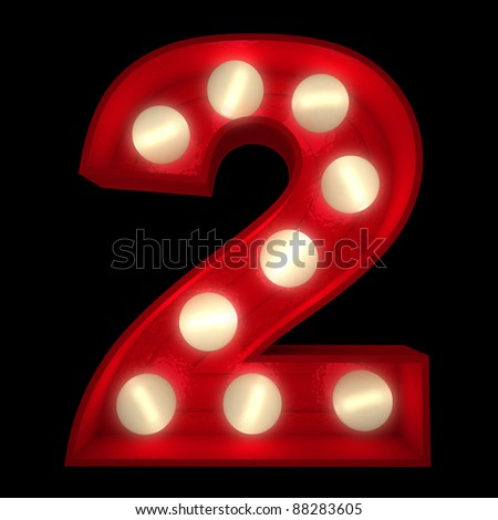 3D rendering of a glowing number 2 ideal for show business signs (part of a complete alphabet) - stock photo