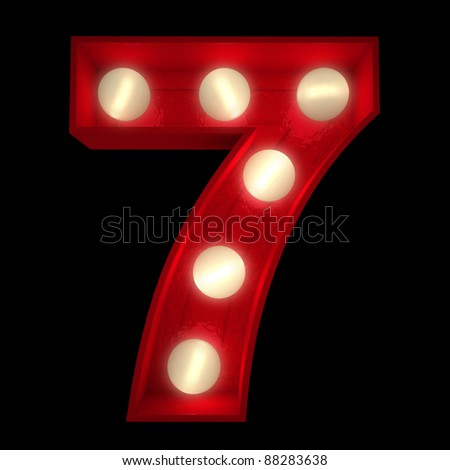 3D rendering of a glowing number 7 ideal for show business signs (part of a complete alphabet)