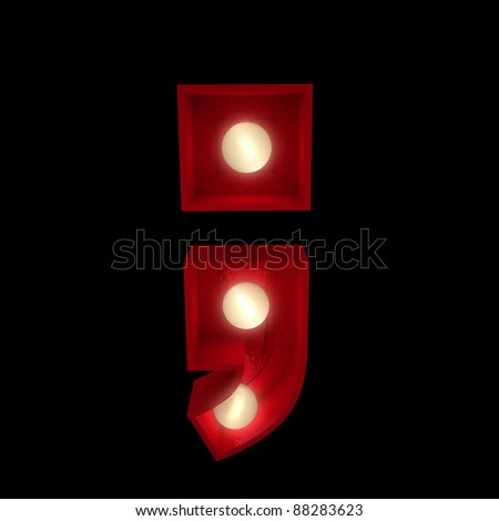 3D rendering of a glowing semicolon ideal for show business signs (part of a complete alphabet)