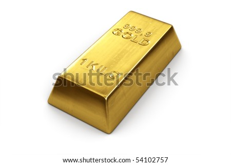 3d rendering of a gold bar - stock photo