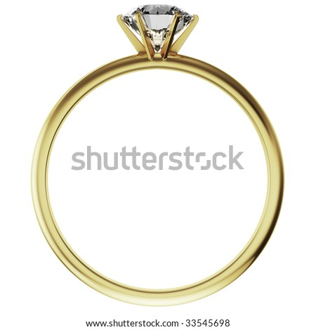 3d rendering of a gold diamond ring - stock photo